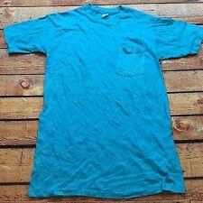 80s VTG HANES POCKET T Shirt Rocker L GRUNGE Single STITCH Soft BLANK Made USA