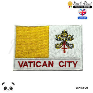 Vatican-City-National-Flag-With-Name-Embroidered-Iron-On-Sew-On-Patch-Badge