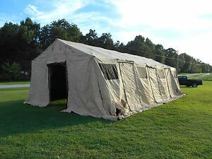 Image is loading MILITARY-TENT-BASE-X-307-TAN-EASY-UP- & MILITARY TENT BASE- X 307 TAN EASY UP 18u0027 x 35u0027 SURPLUS GARAGE ...