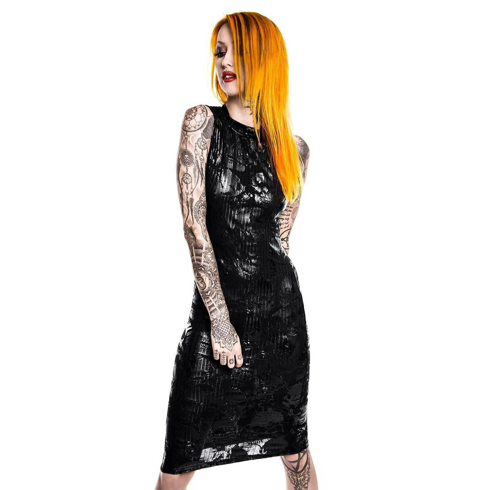 KILLSTAR Chaos Enfant Terrible Dress Bodycon Stretch Kleid Ärmellos Lack Print