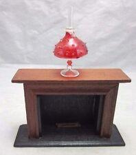 Vtg wood DOLL HOUSE fireplace & glass hurricane lamp miniature