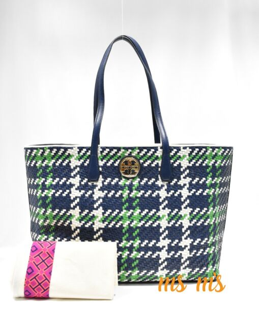 8e9dfa75bba Tory Burch Bag Tote Duet Woven leather Shopper Navy Leather Green NWT  595