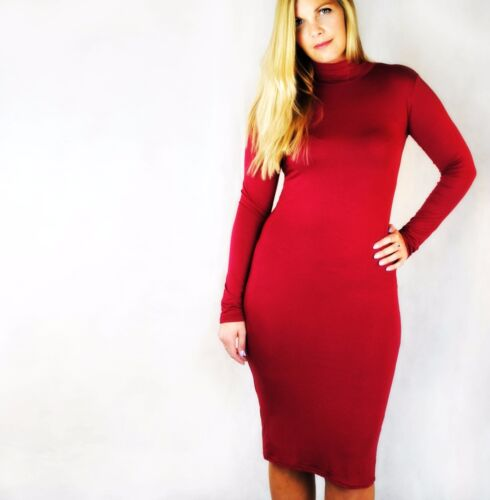 Polo para mujer Vestido de estiramiento jersey de cuello alto manga larga vestido Midi Llano 8-14