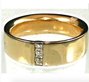Mens Gold Plated Band Ring Chunky Cubic Zirconia  Accent 8,10,11 Fashion Ring