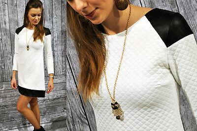 Sexy Kleid Minikleid Tunika im stepp mit Kunstleder Neu 36 38 40 42 S M L XL