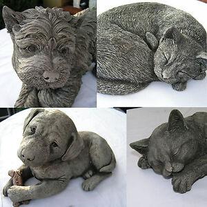Gartendeko-Figur-Hund-oder-Katze-aus-Steinguss-Tier-Skulptur-Betonguss