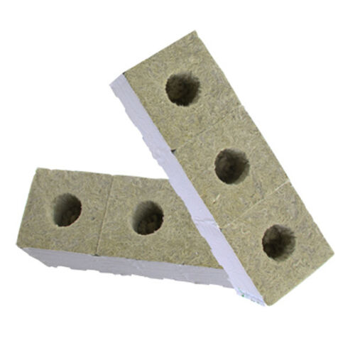 30 x PREMIUM GRODAN WRAPPED ROCKWOOL CUBES 75MM x 75MM WITH HOLE ROCK WOOL