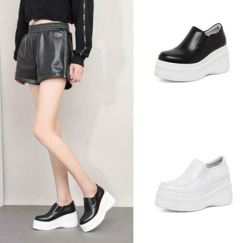 Details about  /Womens Fashion Leather Platform Wedge Elastic Slip On Court Shoes Loafers MOON