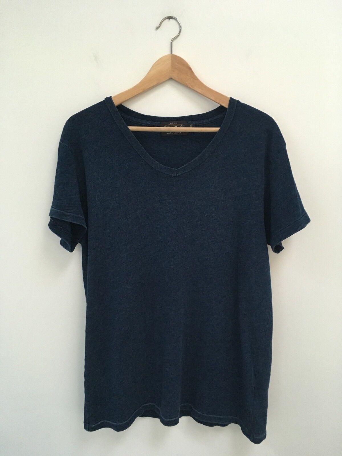 Ralph Lauren's RRL Indigo Blau T-Shirt Größe Large NWOT