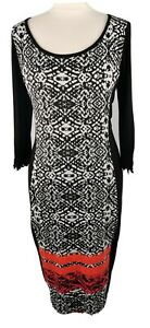 Joseph-Ribkoff-Size-14-Black-White-Scoop-Neck-3-4-Sleeve-Stretchy-Fitted-Dress