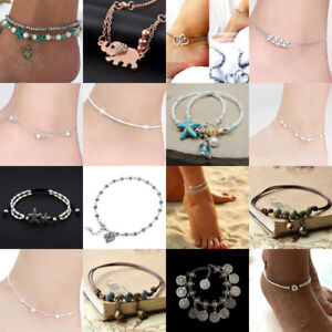 Women-Silver-Gold-Chain-Anklet-Ankle-Bracelet-Barefoot-Sandal-Beach-Foot-Jewelry