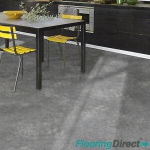 Dark Grey Damask Victorian Style Vinyl Flooring Non Slip ...