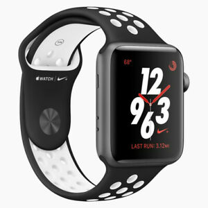 Details about Apple Watch Nike+ Series 3 GPS 42mm Space Gray Aluminium -  Black/White Nike Band