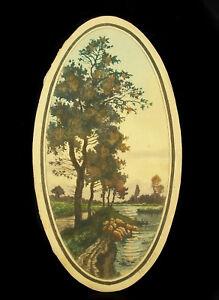 Gravur-Xx-Signiert-Bestimmen-Landschaft-Ufer-von-Fluss-oder-von-See-Print-French