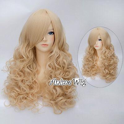 55cm Cosplay Manga Perücke Ladieshair Hell Gold Wig Gothic Locken Layered Lolita
