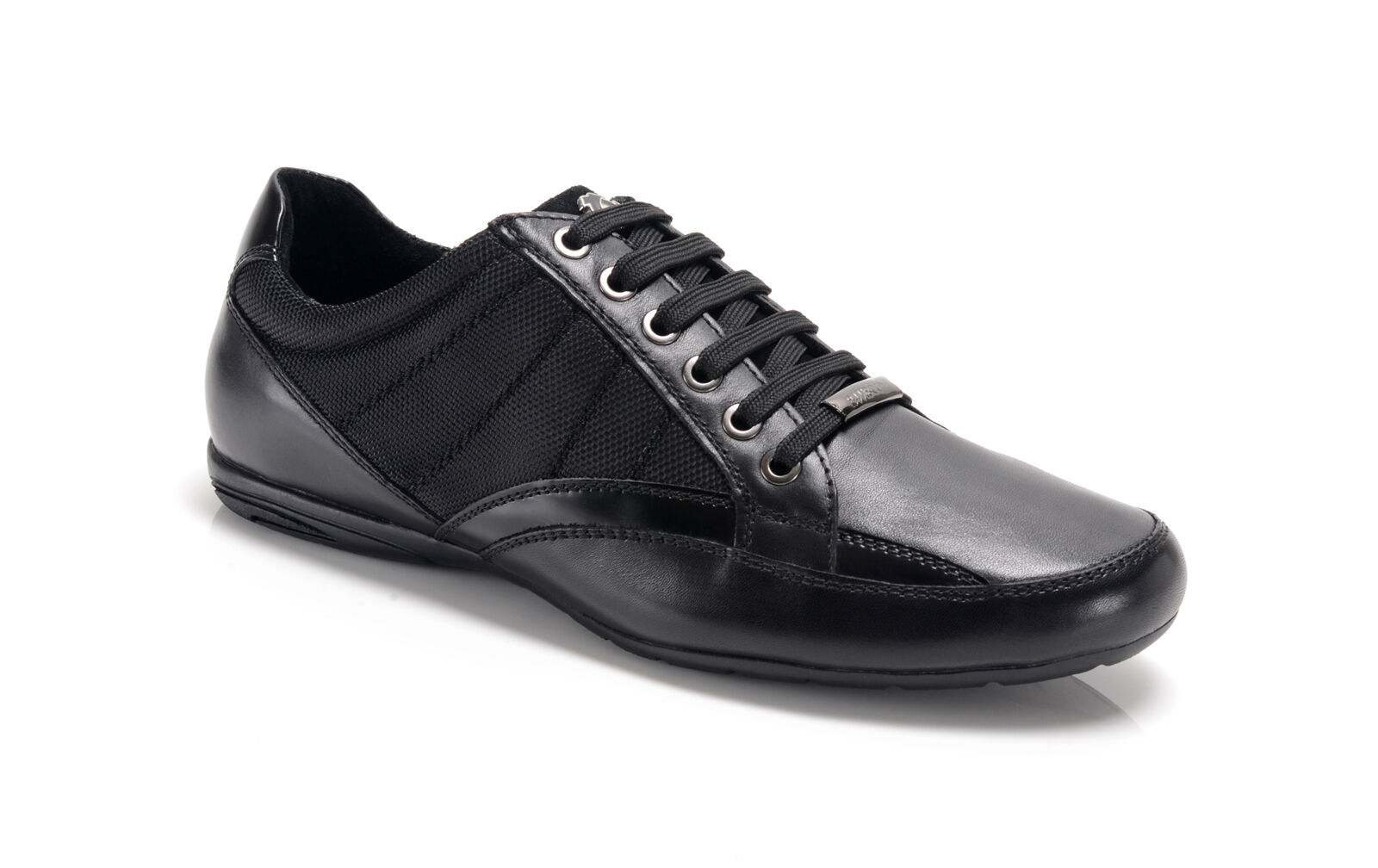 Bambooa Chrome Quality Black Leather Mens Designer Casual Shoes Trainers RRP