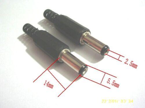 100pcs x 2.5 x 5.5 mm AC//DC Power Male Plug Jack Adapter