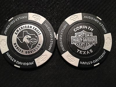 "Harley Poker Chip (SIGNATURE Black & White) ""American Eagle"" Corinth TX ORIGINAL"