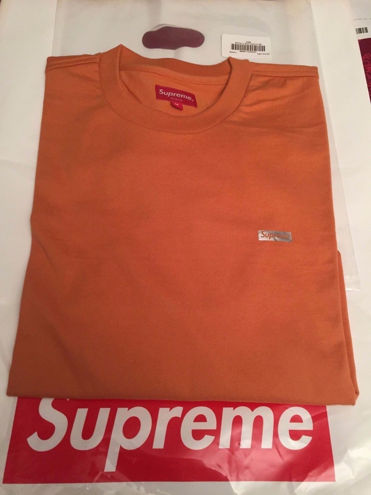 Supreme Metallic Box Logo L/S Tee Orange sz M - IN HAND READY TO SHIP DSWT FW17