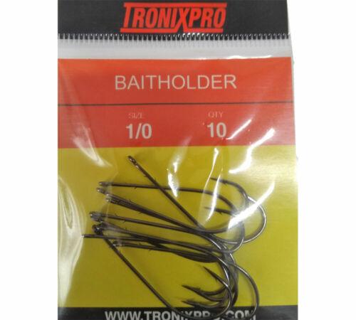 Tronixpro BaitHolder Size 1//0 Hooks Sea Fishing Bait Hooks Barbed Shank