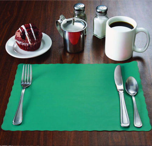 "Disposable Scalloped Edge,10/""x14/"" place mats 2000 Raise® Teal Paper Placemats"