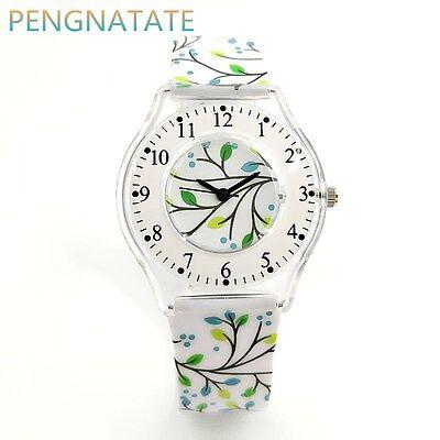 Fashion Women Watch Leaves Ultra Thin Strap Watches Chilren Wristwatch Kids Gift