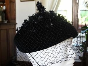 femme luxe nouvelle collection Détails sur Ancien CHAPEAU femme BIBI en feutre noir avec jolie voilette