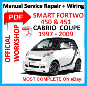 official workshop manual service repair for smart 450 451 fortwo rh ebay com smart fortwo 450 and 451 workshop repair service manual smart car 450 service manual