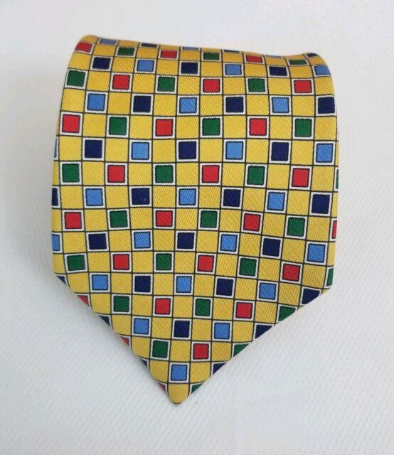 Turnbull & Asser Men's Yellow Squares Silk Necktie Neck Tie 60L 3.75W
