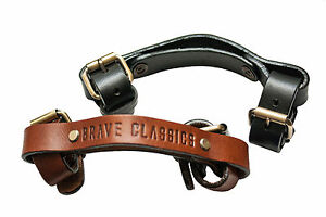Carrying straps/Transport handle by Brave Classics Genuine leather black/brown