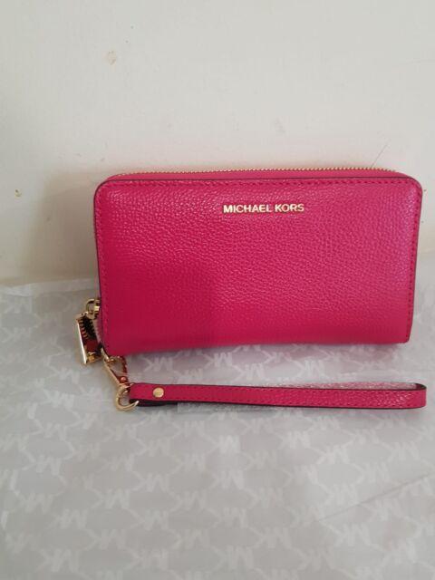 d66c96ba35dae0 BNWT Michael Kors Mercer Large Leather Smartphone Wristlet Ultra Pink  32F6GM9E3L