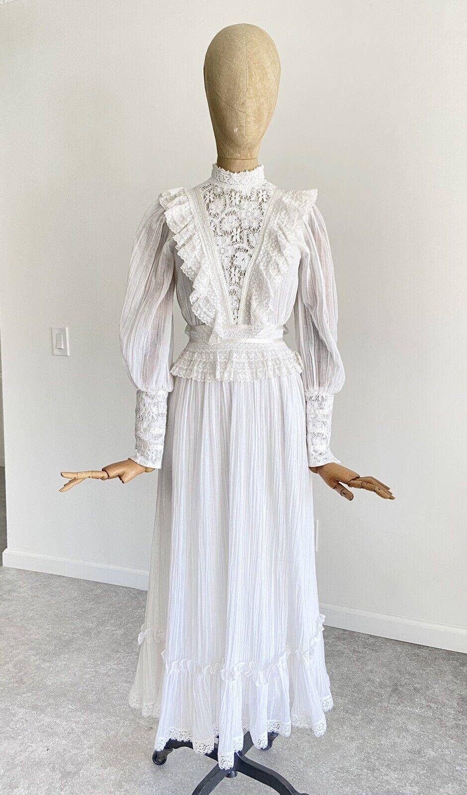 Vintage GUNNE SAX White Cotton Prairie Maxi Dress… - image 2