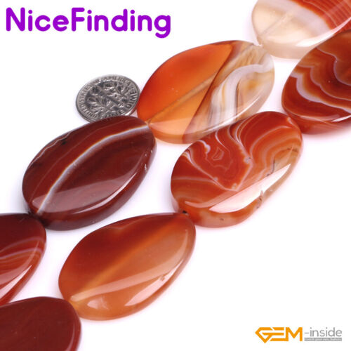 """Natural Gemstone Smooth Oval Banded Agate Sardonyx Beads For Jewelry Making 15/"""""""