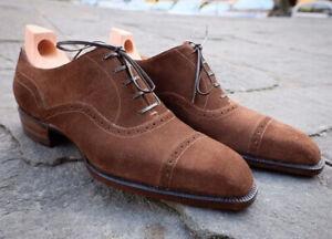 Fait-Main-Homme-en-daim-marron-Cap-Toe-Lace-Up-robe-Formel-Chaussures-Oxford