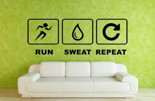 Run Sweat Repeat Fitness Sport Gym Decor Games Room Vinyl Wall Sticker Art XXL