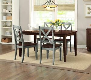 Farmhouse Dining Table Set Rustic Country Kitchen 5 Piece Chairs ...