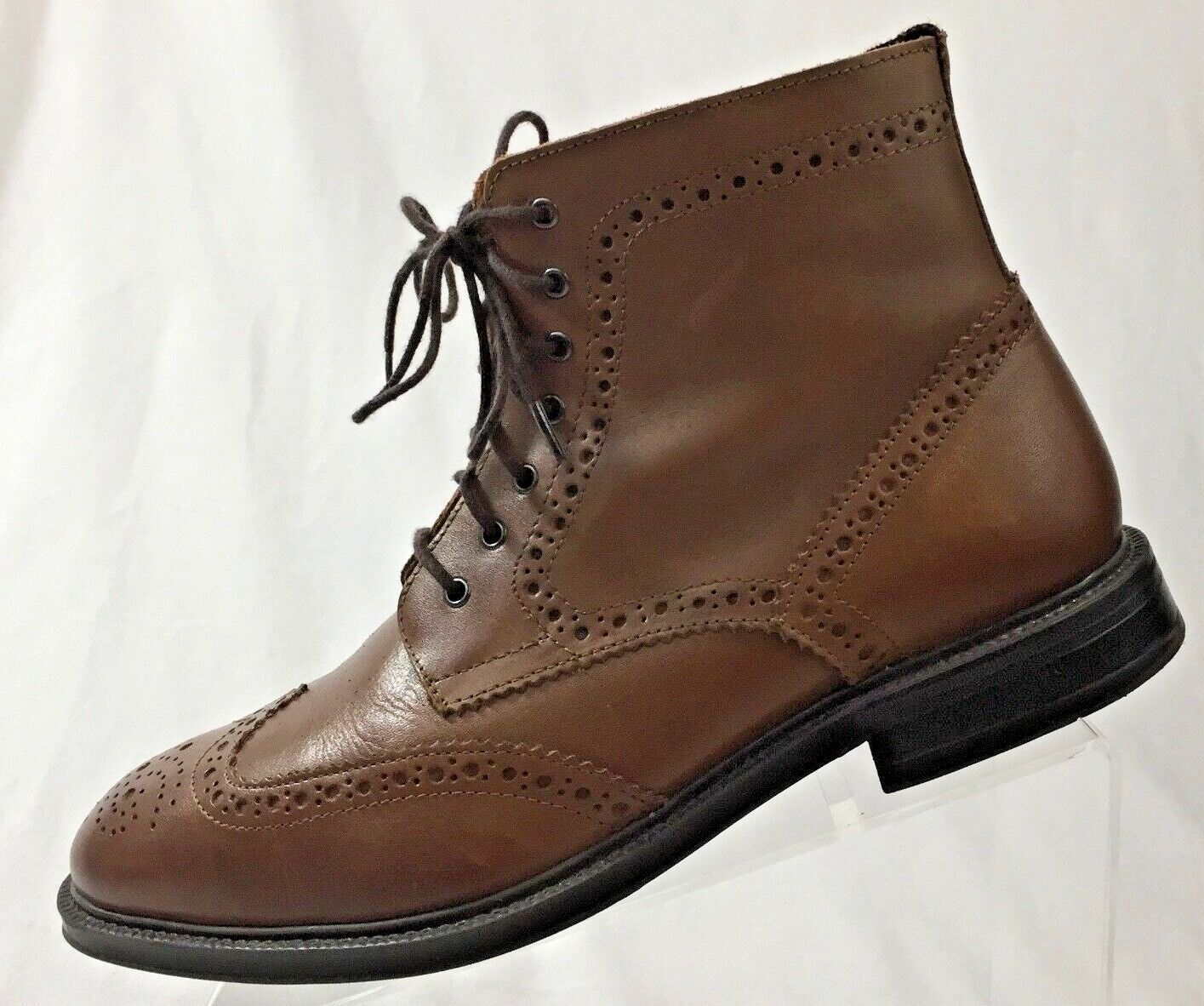 Stafford Men's Brown Leather Wingtip Dress Boots shoes Size 8M