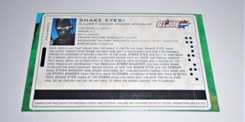 G I JOE FILE CARD filecard 2005 SNAKE EYES V25