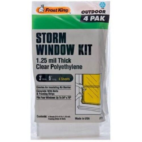 Frost King P714H Economy Outdoor Plastic Storm Window Kits 3-Foot by 6-Foot by 1