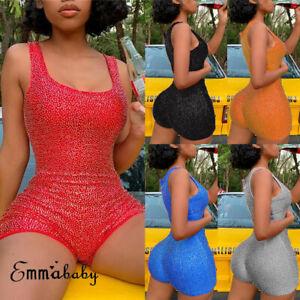 Short-Romper-Jumpsuit-Leotard-Sleeveless-Top-Women-Stretch-Blouse-Lady-Bodysuit