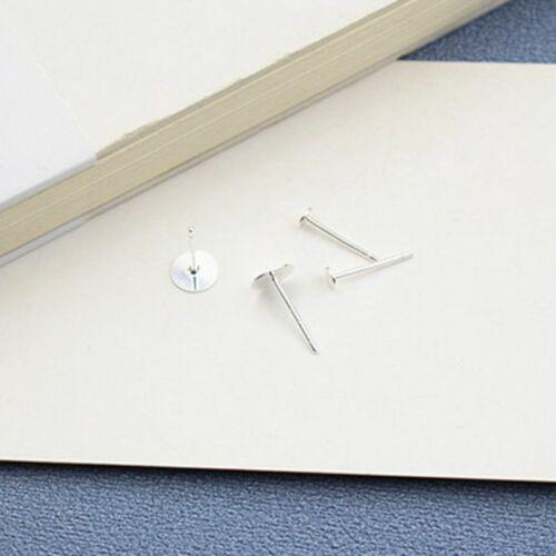 20Pcs DIY Craft 925 Sterling Silver Ear Stud Pin Earrings Posts Flat Pad 3//4mm