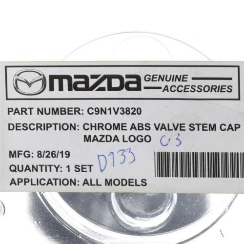 OEM NEW Genuine Mazda Chrome Plated Tire Valve Stem Caps Set of 4 C9N1-V3-820