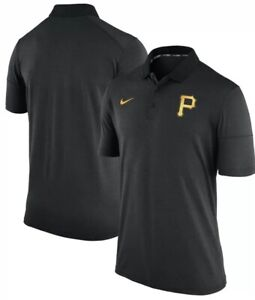 huge selection of 53f45 da8d0 Image is loading Nike-Men-s-Pittsburgh-Pirates-Black-Polo-Jersey-