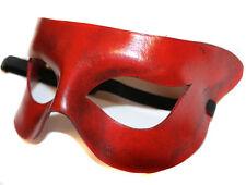 Red semplice Supereroe in pelle fatti a mano Maschera Veneziana Ballo in Maschera