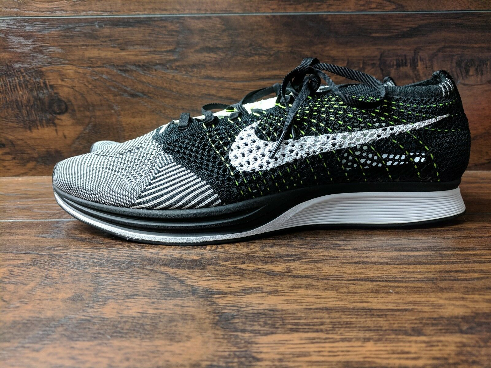 c225fedcb1 Brand New Nike Men's Orca Flyknit Racer Black White Neon Size 13 Running  Train