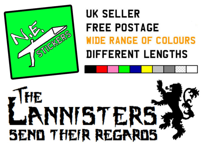 30cm THE LANNISTERS Game of Thrones sticker decal car bumper window vinyl sigil