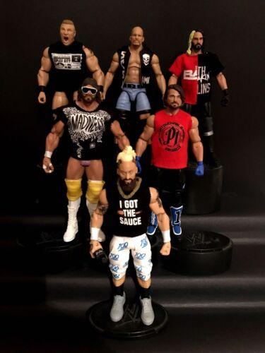 Toute conception WWE Paquet de 15 Custom shirts pour WWE MATTEL figures toute couleur.