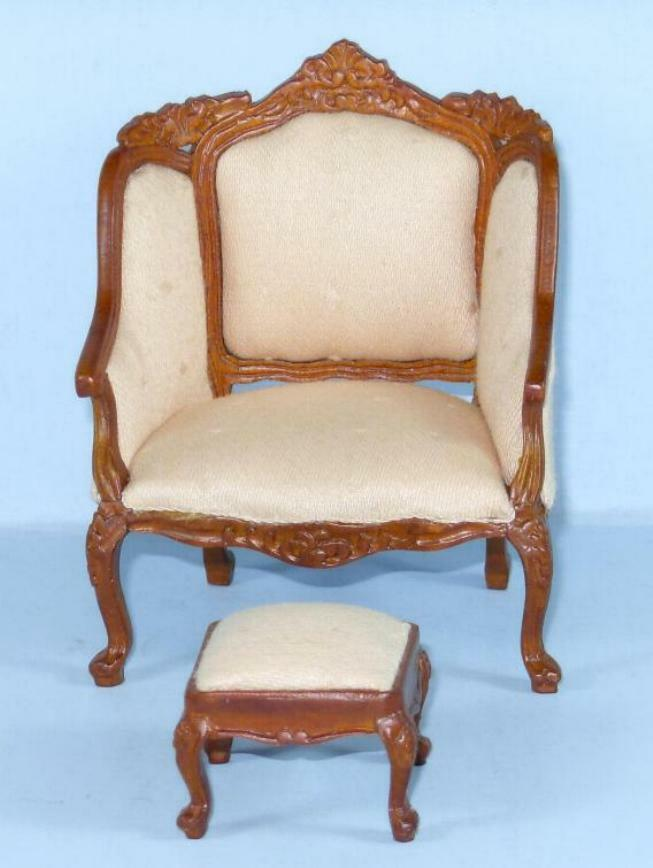 HANSSON DELUXE ARM DOLL CHAIR & STOOL CA03801HGW  MINIATURE DOLL ARM HOUSE FURNITURE d34746