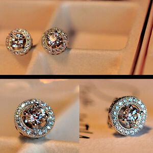 Fashion-Women-039-s-Crystal-Zircon-Inlaid-Ear-Stud-Platinum-Plated-Earrings-Bling