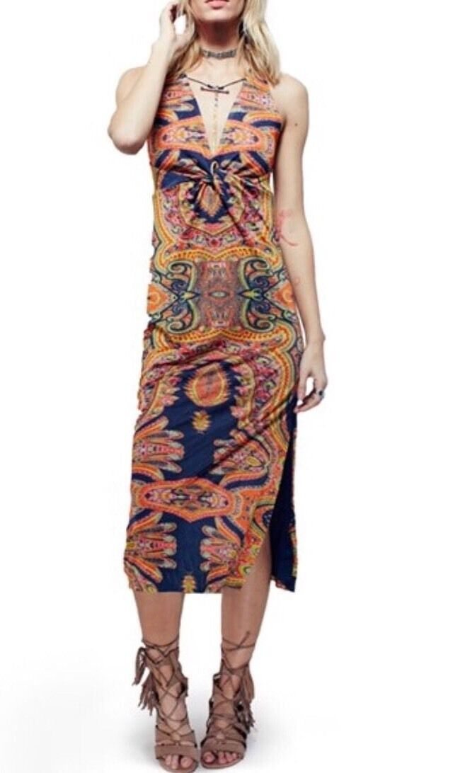 NEW Free People  Sin City Midi Stretch Dress Psychedelic Summer Combo XS